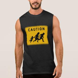 Caution at Crossing Traffic Warning Sign USA Sleeveless T-shirts