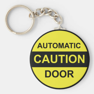 Caution Automatic Door Keychain