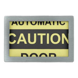 Caution Automatic Door Rectangular Belt Buckle