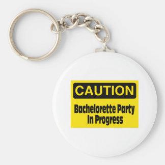 Caution Bachelorette Party In Progress Basic Round Button Keychain