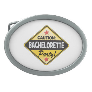 caution bachelorette party yellow warning sign fun oval belt buckle