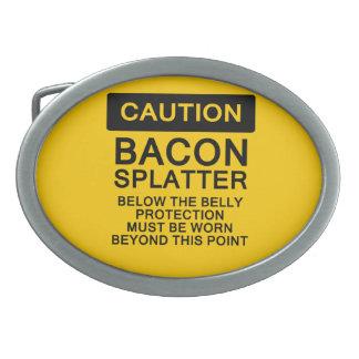 Caution Bacon Splatter Belt Buckle