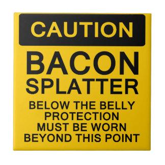 Caution Bacon Splatter Ceramic Tile