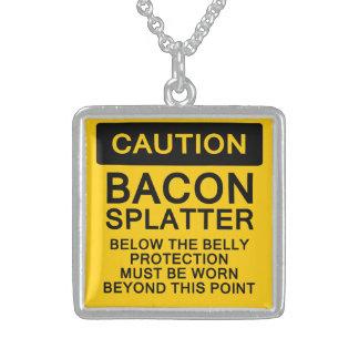 Caution Bacon Splatter Square Pendant Necklace