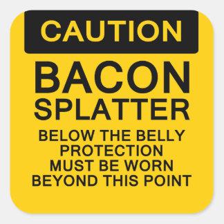 Caution Bacon Splatter Square Sticker