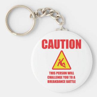 Caution Basic Round Button Keychain