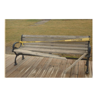 Caution! Bench Wood Print