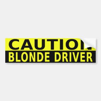 CAUTION BLONDE DRIVER BUMPER STICKER