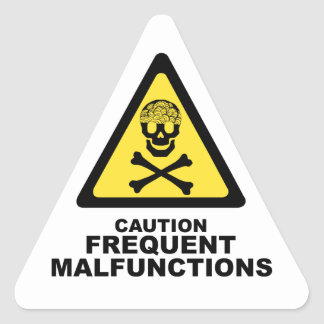 Caution Brain Triangle Sticker