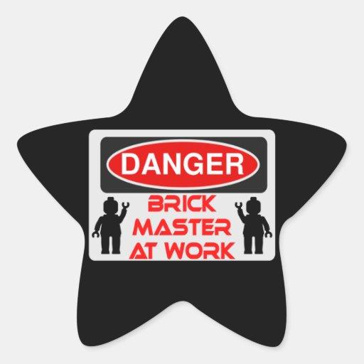 CAUTION BRICK MASTER AT WORK by Chillee Wilson Star Sticker