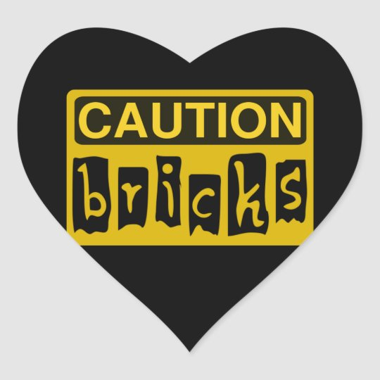 CAUTION BRICKS by Customize My Minifig Heart Sticker