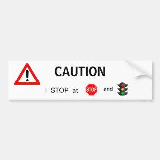 Caution Bumper Sticker Car Bumper Sticker