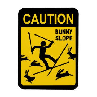 CAUTION: Bunny Slope - Humorous Ski Warning Sign Rectangular Photo Magnet