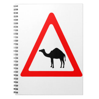 Caution Camel Crossing Traffic Sign Spiral Notebook