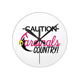 Caution Cardinals Round Clock