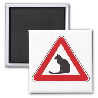 Caution Cats, Traffic Sign, Italy 2 Inch Square Magnet