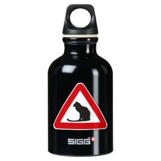 Caution Cats, Traffic Sign, Italy Aluminum Water Bottle
