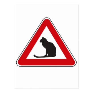 Caution Cats, Traffic Sign, Italy Postcard