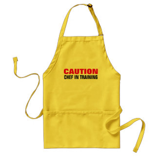 Caution chef in training apron