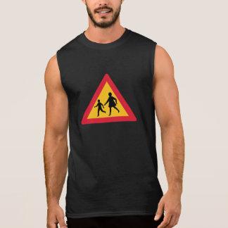 Caution Children Crossing Traffic Sign Iceland Sleeveless T-shirt