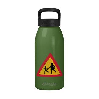 Caution Children Crossing, Traffic Sign, Iceland Water Bottle