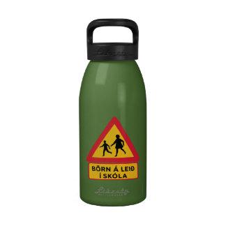 Caution Children School, Traffic Sign, Iceland Reusable Water Bottle