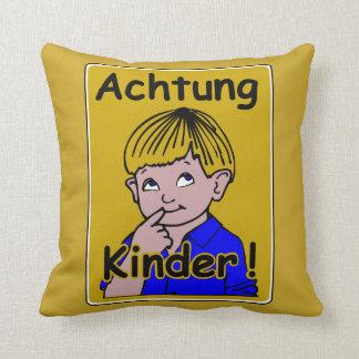 Caution Children, Traffic Sign, Austria Throw Pillow