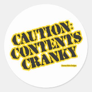 Caution: Contents Cranky Classic Round Sticker