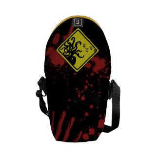 Caution Cthulhu Splatter Courier Bag