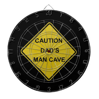 Caution Dad's Man Cave Sign Dartboard