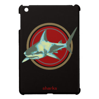caution, danger sharks iPad mini cases