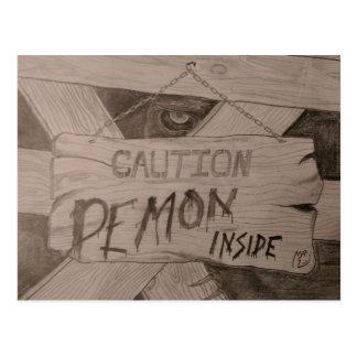 Caution - Demon Inside by MrE Postcard