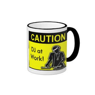 Caution DJ at Work! Ringer Coffee Mug