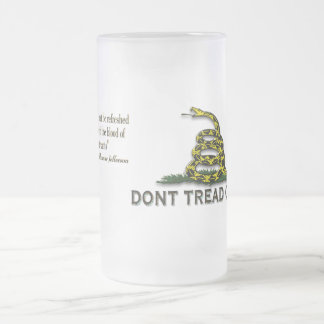 """CAUTION """"Don't Tread On Me"""" FLAG 16 Oz Frosted Glass Beer Mug"""