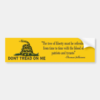 "CAUTION ""Don't Tread On Me"" FLAG Bumper Sticker"