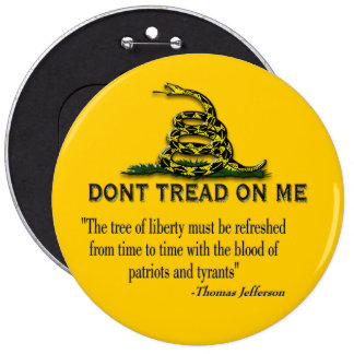 "CAUTION ""Don't Tread On Me"" FLAG 6 Inch Round Button"