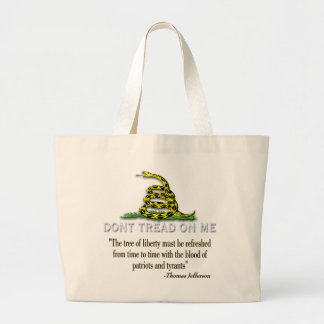 """CAUTION """"Don't Tread On Me"""" FLAG Large Tote Bag"""