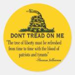 "CAUTION ""Don't Tread On Me"" FLAG Round Sticker"