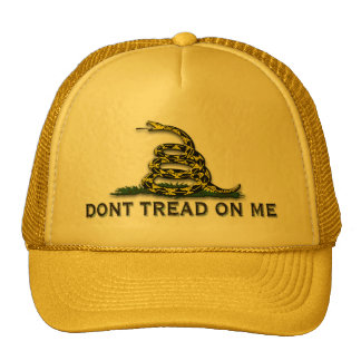 "CAUTION ""Don't Tread On Me"" FLAG Trucker Hat"