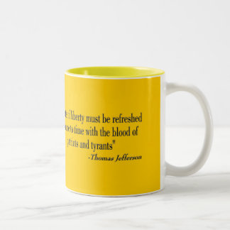 "CAUTION ""Don't Tread On Me"" FLAG Two-Tone Coffee Mug"
