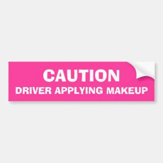 Caution Driver Applying Makeup Car Bumper Sticker