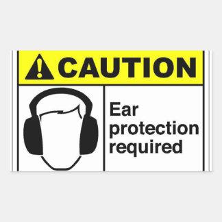 CAUTION Ear protection Rectangular Sticker