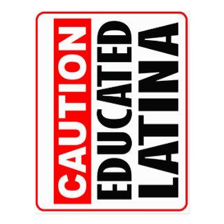 Caution Educated Latina Postcard