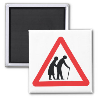 CAUTION Elderly People - UK Traffic Sign 2 Inch Square Magnet