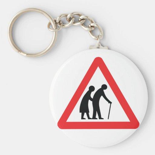CAUTION Elderly People - UK Traffic Sign Basic Round Button Keychain