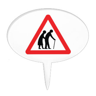 CAUTION Elderly People - UK Traffic Sign Cake Topper