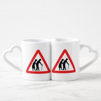 CAUTION Elderly People - UK Traffic Sign Coffee Mug Set