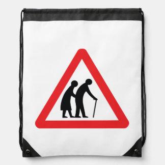 CAUTION Elderly People - UK Traffic Sign Drawstring Backpack