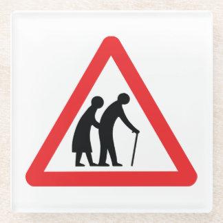 CAUTION Elderly People - UK Traffic Sign Glass Coaster