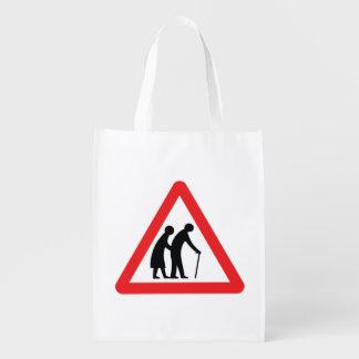 CAUTION Elderly People - UK Traffic Sign Grocery Bag
